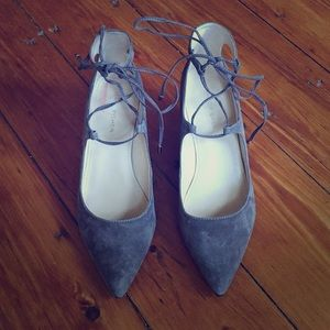 Marc Fisher Gray Suede Wedged Flats Size 8